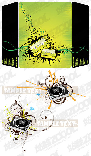 Musical elements vector illustrations material