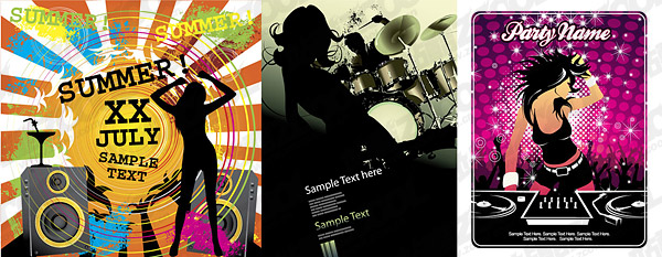 Women and the theme music vector material