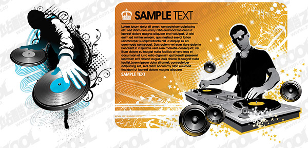 DJ playing disc material vector illustrations