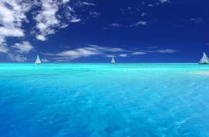 Blue sky and blue sea picture material-2
