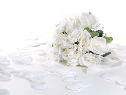 White rose petals and bouquets