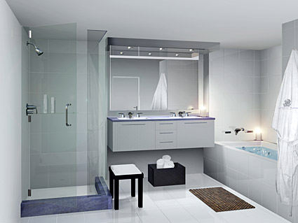 Simple bathroom bright picture material