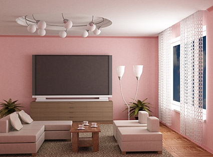 Fashion pink living room picture material
