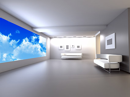 Pure white interior picture material