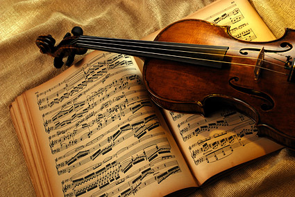 Violin and music material