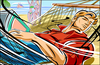 People illustrations - the beaches, hammocks, men
