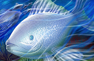 Deep-sea fish psd layered material