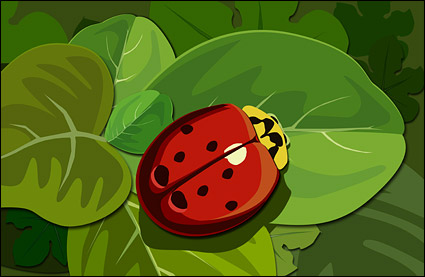 Ladybugs On the Green Leaf