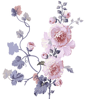 Hand-painted flowers layered material psd-11