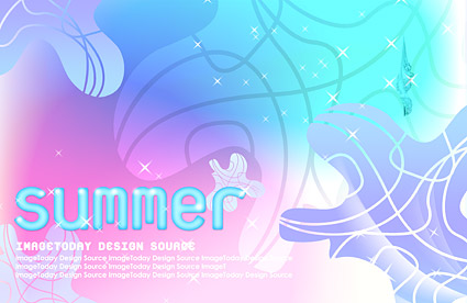 Summer Korean style background material layered psd-4