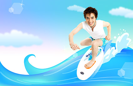 Summer Korean style background material layered psd-6