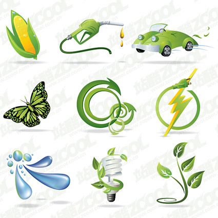 Beautiful green icon series vector material