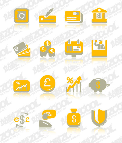 Financial cute icon vector material