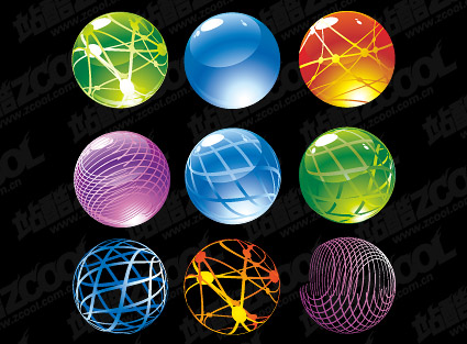 Round crystal ball icon vector material