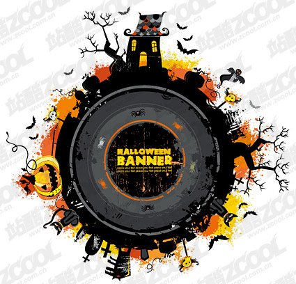 Halloween vector illustration round material