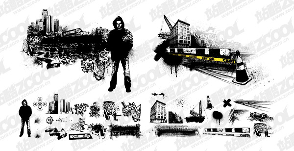 urban theme vector material