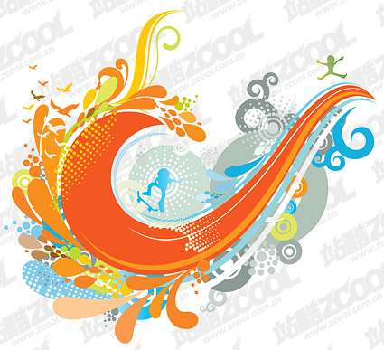 The theme of the tide wave vector design material