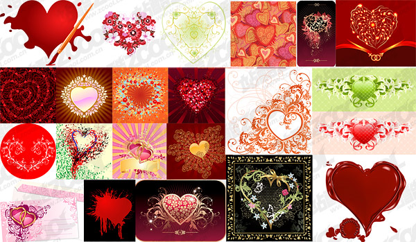 the heart-shaped theme vector