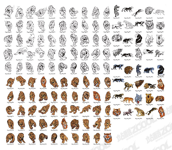 Feline beast animal vector material