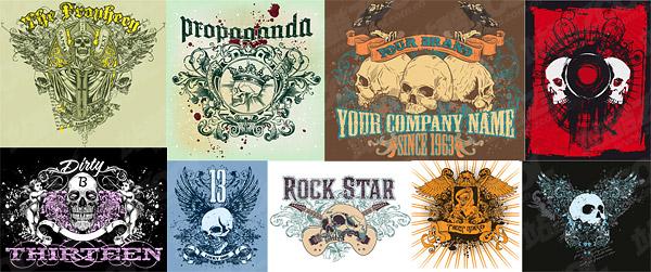 T-shirt design vector material-2