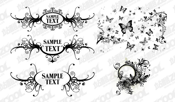 Black-and-white pattern vector material