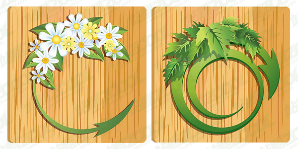 Vector flower leaves grain material