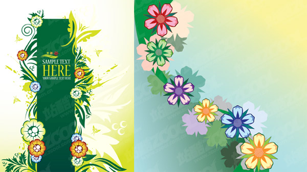 lovely flowers element vector material