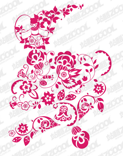 Chinese paper-cut style pattern vector