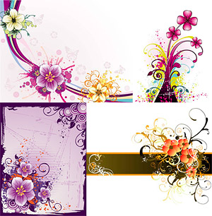 beautiful flower pattern vector material