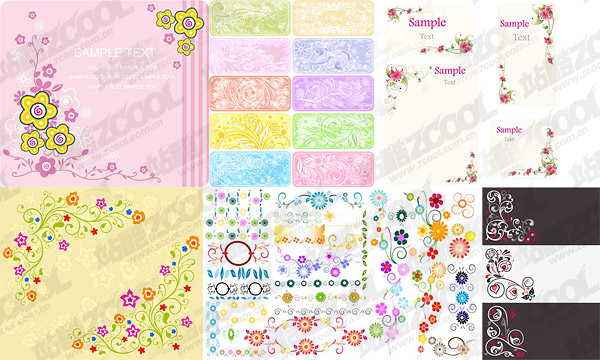 lovely lace pattern style vector material