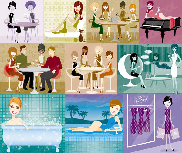 Series vector illustration of men and women of modern material-1