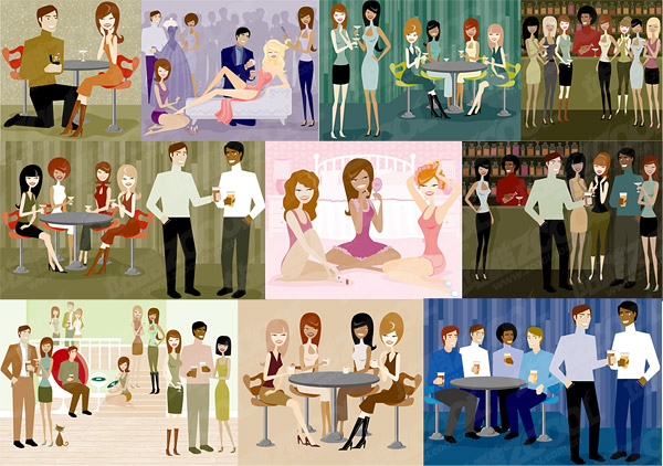 Series vector illustration of men and women of modern material-2