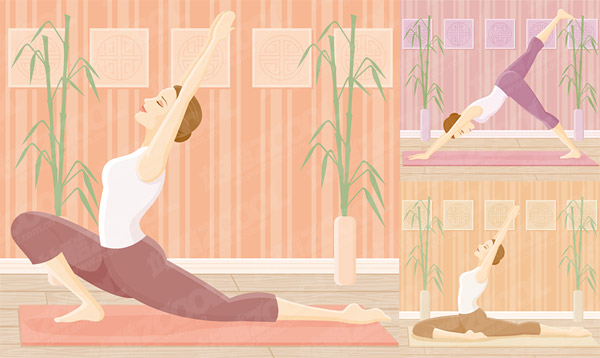 Yoga movement of female vector material