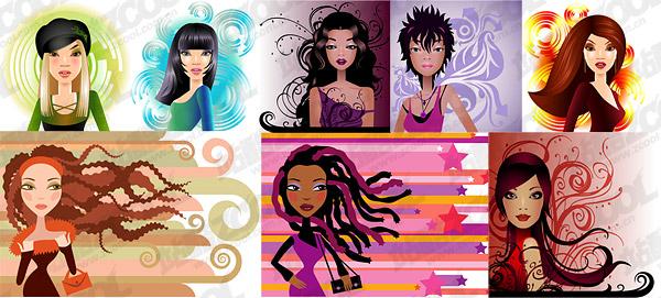 modern fashion trend of women vector