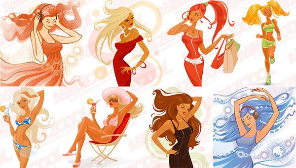 modern fashion trend of women vector -2