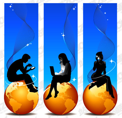Earth and silhouette figures gold vector material