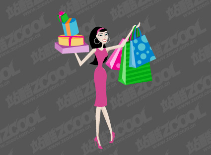 Women shopping vector material
