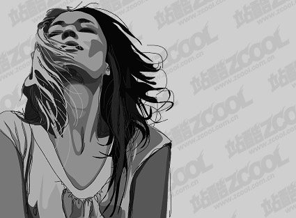 Black and white women vector material