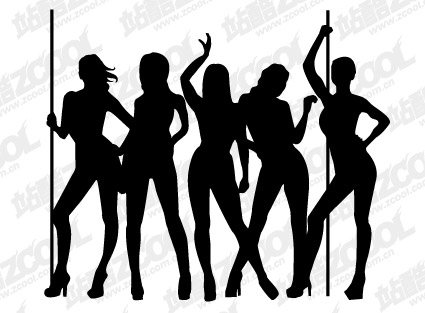 Female dancer silhouette vector material