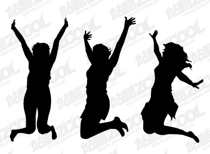 People beat silhouette vector material