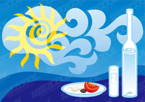 Dining cartoon illustration vector material