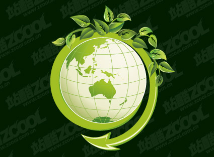 Green leaves with the vector of the earth material