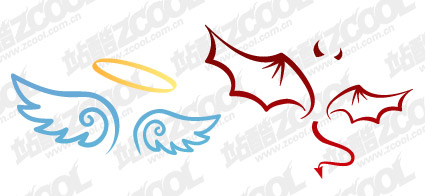 The devil and angel wings vector material
