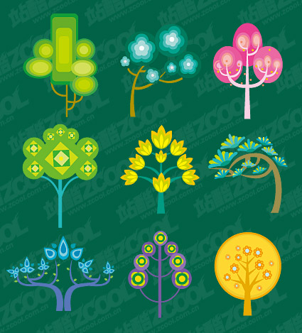 Cute cartoon trees vector material