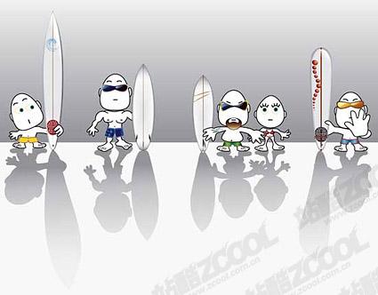 Windsurfing cartoon characters set vector