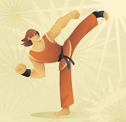 Taekwondo cartoon character vector