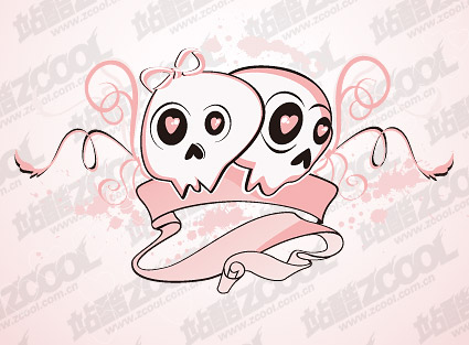 Lovely couple skull trend vector material