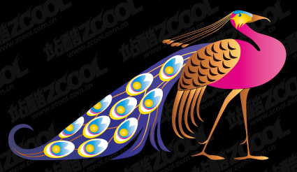 Beautiful peacock vector material