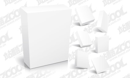 3d box blank template vector material