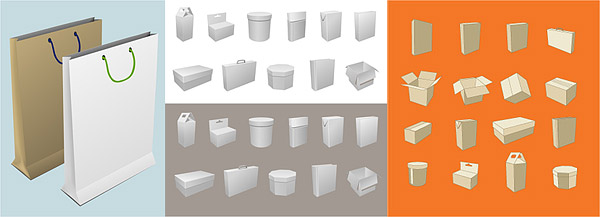 Blank box and bag packaging material vector